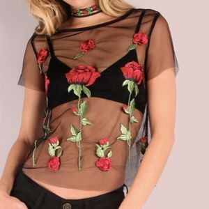 Verge Girl Rose Embroidered Mesh Top